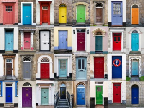 Lots of colourful front doors