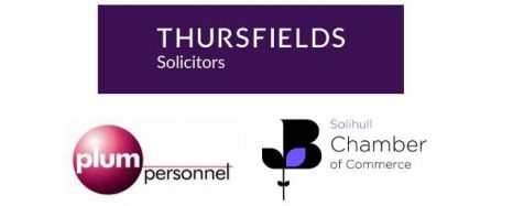 Thursfields Solicitors, solihull chamber of commerce and plum personnel logos